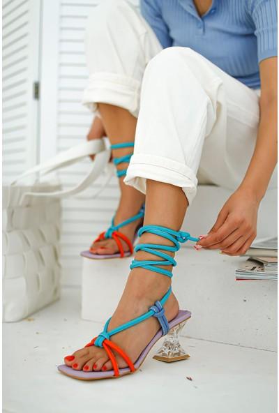 Limoya Emely Köşeli Burunlu Şeffaf Ökçeli Sandalet