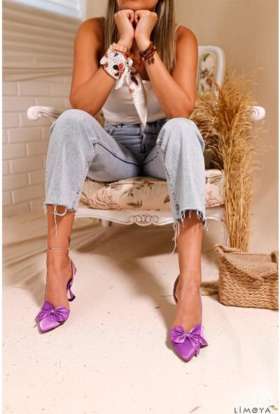 Limoya Holly Fiyonk Detaylı Şampanya Topuklu Sandalet