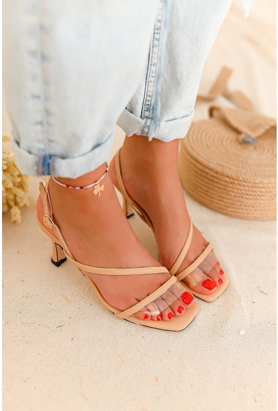 Limoya Jaden Şeffaf Bantlı Kısa İnce Topuklu Sandalet