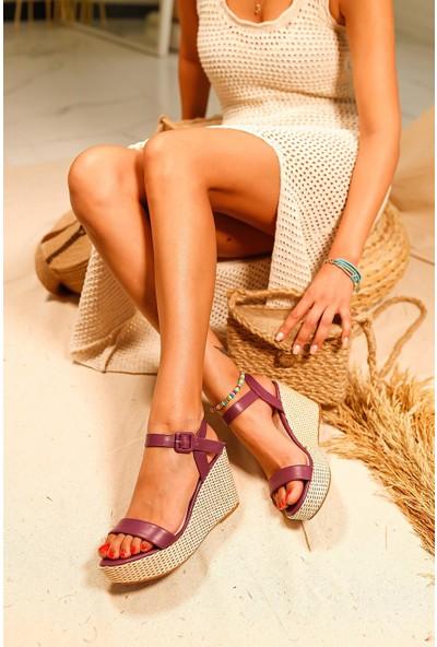 Limoya Elisa Hasır Dolgu Topuklu Sandalet