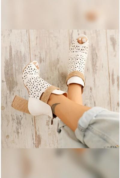 Limoya Malaysia Hasır Bantlı Arkadan Fermuarlı Topuklu Sandalet