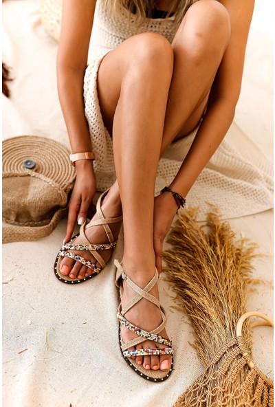 Limoya Liana Velvet Çapraz Detaylı Taşlı Düz Sandalet