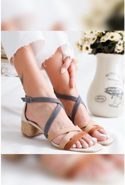 Limoya Malaya Süet Multi Hasırlı Alçak Topuklu Sandalet