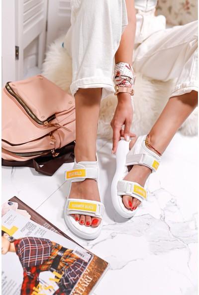 Limoya Maren Beyaz Streç Cırt Detaylı Sandalet