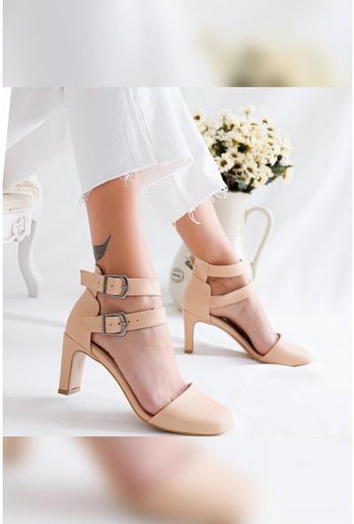 Limoya Miracle Çift Tokalı İnce Dikdörtgen Topuk Sandalet