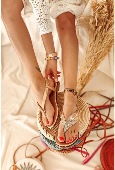 Limoya Natalie Roze Yaprak Detaylı Parmak Arası Sandalet