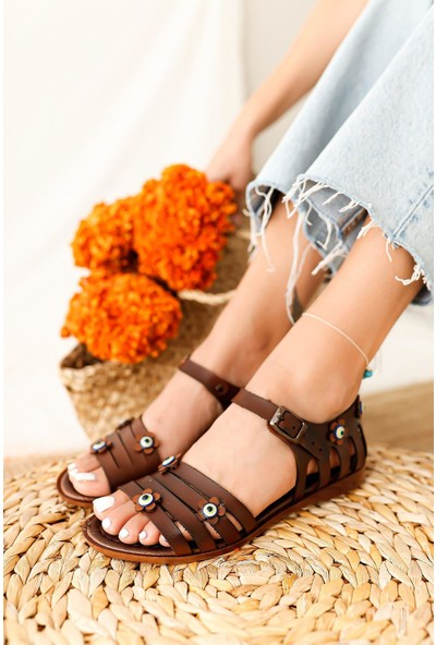 Limoya Pamela Deri Nazar Boncuğu Detaylı Sandalet