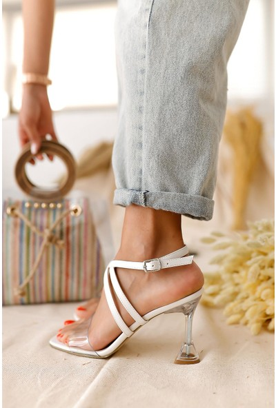 Limoya Remi Şeffaf Bantlı Şampanya Topuklu Sandalet