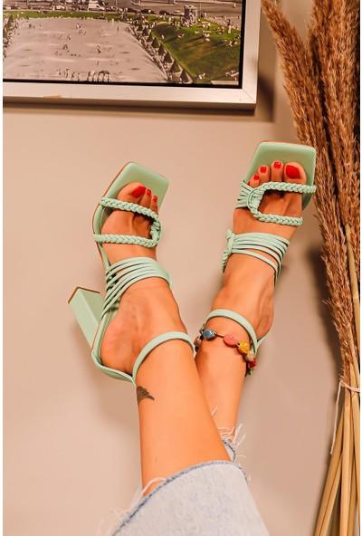 Limoya Reanna Örgü Detaylı Topuklu Sandalet