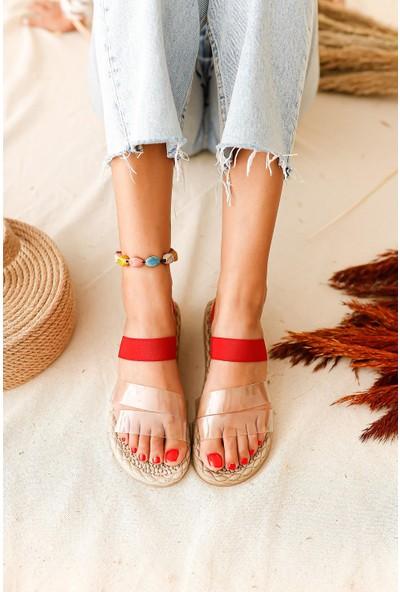 Limoya Rowan Şeffaf Bantlı Lastikli Sandalet