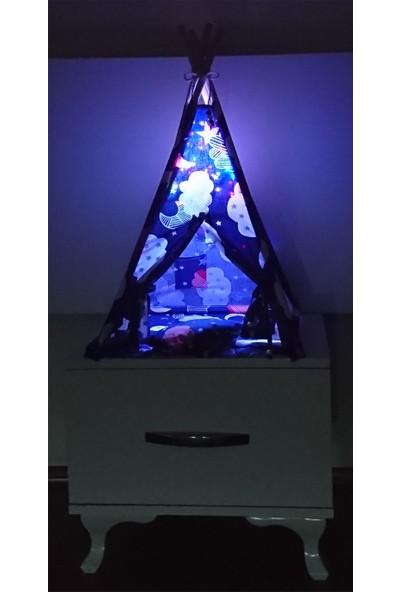 Altev Gökyüzü Minyatür LED Aydınlatmalı Ahşap Abajur Çocuk Çadırı