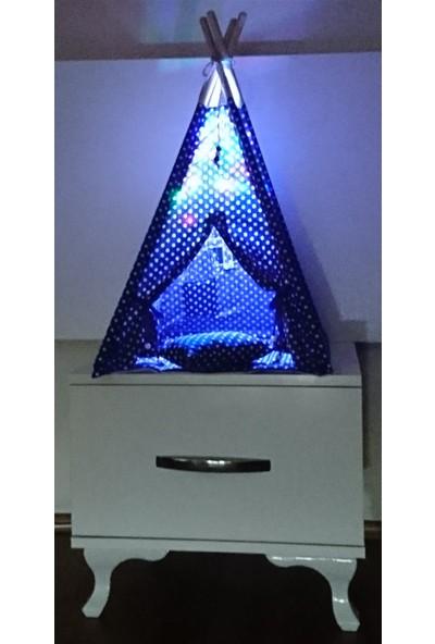 Altev Puantiye Minyatür LED Aydınlatmalı Ahşap Abajur Pilli Çocuk Çadırı