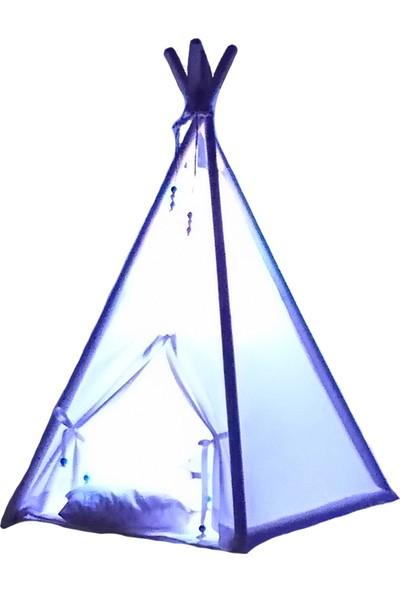 Altev Beyaz Minyatür LED Aydınlatmalı Ahşap Abajur Çocuk Çadırı