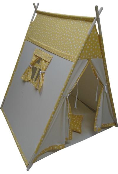 Altev Prizmatik Ahşap Kartane Desenli Çoçuk Oyun Çadırı - Oyun Evi