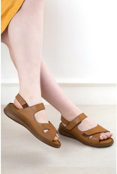 Eşle 20Y 3562 Kadın Deri Sandalet Taba
