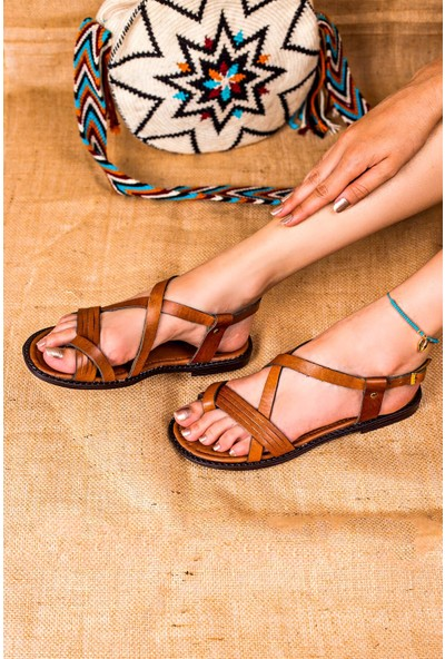 Eşle 20Y 102 Deri Kadın Sandalet Taba