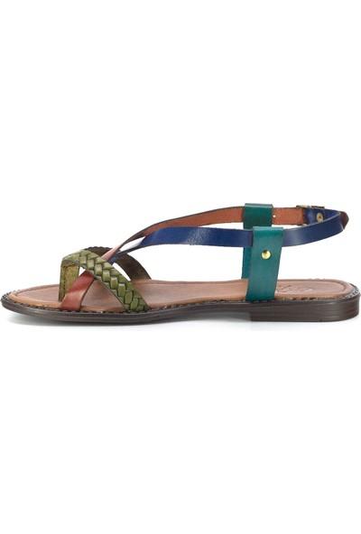 Eşle 20Y 106 Deri Kadın Sandalet Çok Renkli