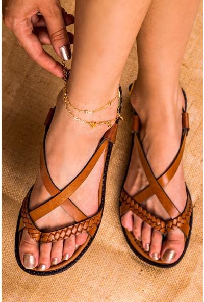 Eşle 20Y 106 Deri Kadın Sandalet Taba
