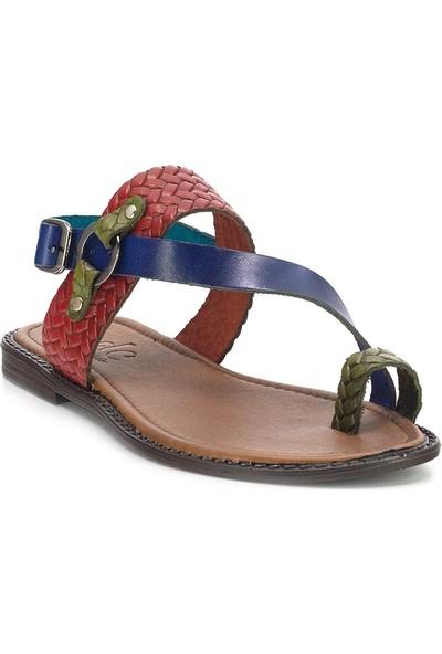 Eşle 20Y 111-1 Deri Kadın Sandalet Çok Renkli