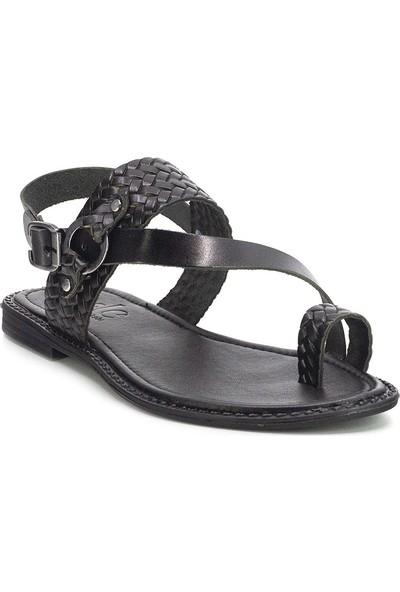 Eşle 20Y 111-1 Deri Kadın Sandalet Siyah