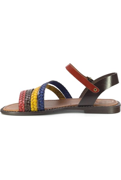 Eşle 20Y 121 Deri Kadın Sandalet Çok Renkli