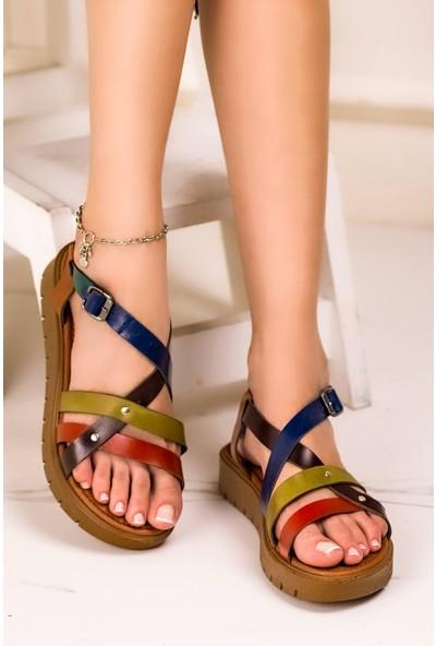 Eşle 20Y 303 Deri Kadın Sandalet Çok Renkli