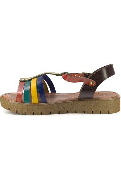 Eşle 20Y 307 Deri Kadın Sandalet Çok Renkli