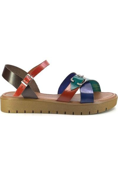 Eşle 20Y 325 Deri Kadın Sandalet Çok Renkli