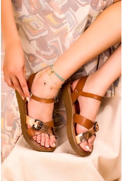 Eşle 20Y 325 Deri Kadın Sandalet Taba