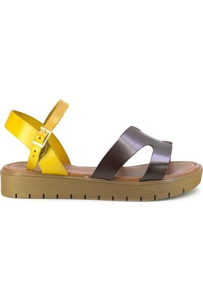 Eşle 20Y 336 Deri Kadın Sandalet Kahverengi
