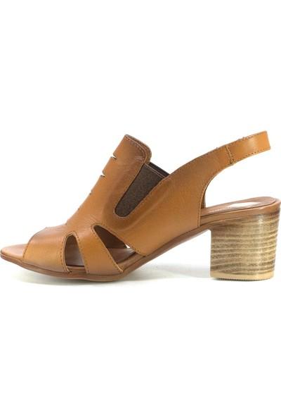 Mammamia D20YS-1045 Kadın Deri Sandalet Taba