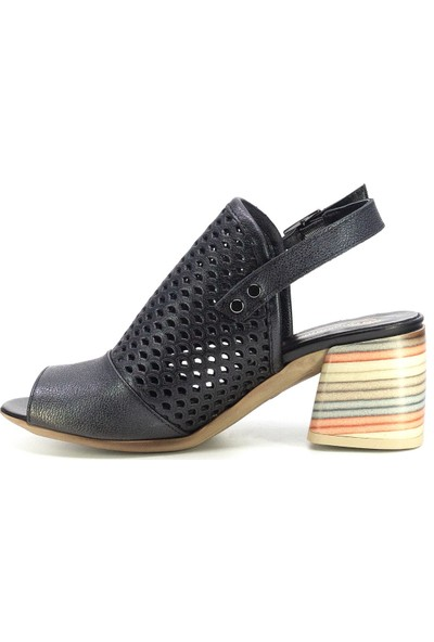 Mammamia D20YS-1445 Kadın Deri Sandalet Antrasit