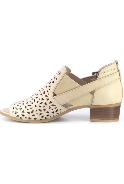 Mammamia D20Ya-3345 Kadın Deri Sandalet Bej