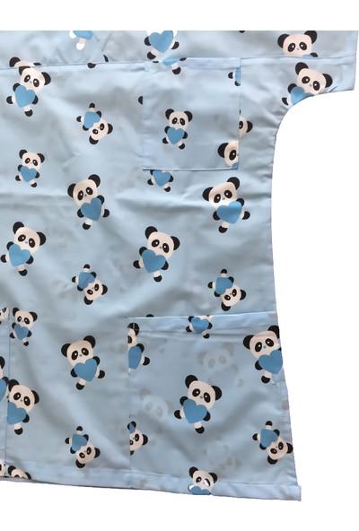 Palmiye Üniforma Turkuaz Panda Desenli Kadın Üst Forma