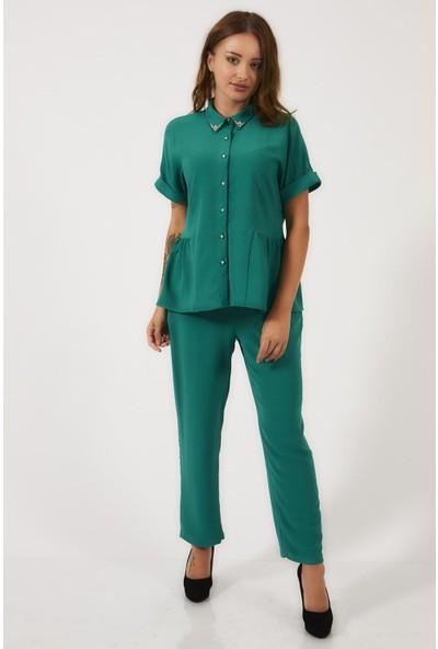 Milus Yakası Taş Detaylı Yeşil Renk Takım