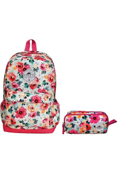 Epique Çiçek Desenli Kız Çocuk Çanta Seti - İlkokul - Ortaokul - Lise Pembe