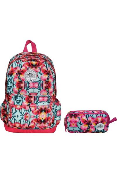 Epique Çiçek Desenli Kız Çocuk Okul Çanta Seti - Okul Sırt Çantası