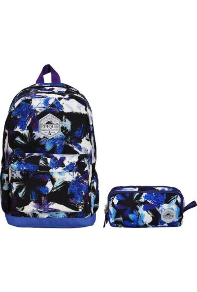 Epique Desenli Erkek Çocuk Okul Çanta Seti - Okul Sırt Çantası Mavi