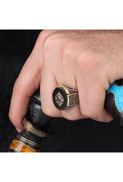 Prestige Otantik Gümüş Erkek Yüzük Oniks Taşlı Nano Taş Süslemel