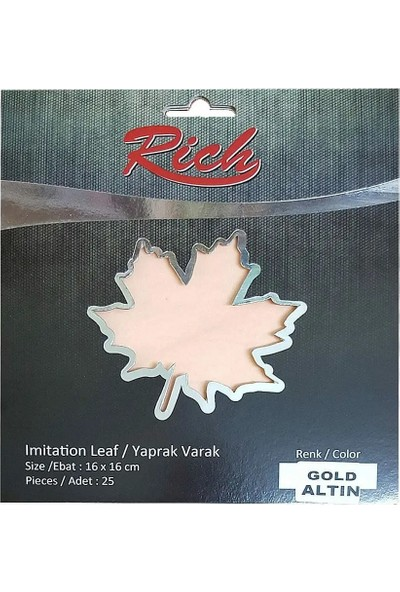 Rich Yaprak Varak 16 x 16 cm 25'li Altın