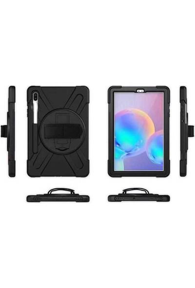 Fujimax Samsung Galaxy Tab S6 Lite 2020 P610 P615 P617 Zırh Özellikli Defender Askılı 360 Koruma Kılıf Siyah