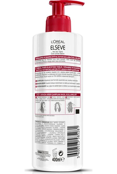 L'Oréal Paris Elseve Komple Onarıcı 5 3'ü 1 Arada Krem Şampuan
