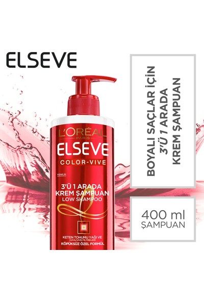 L'Oréal Paris Elseve Color Vive 3'ü 1 Arada Krem Şampuan