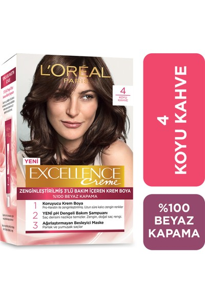 L'Oréal Paris Excellence Creme Saç Boyası - 4 Koyu Kahve