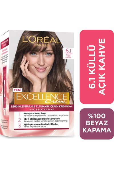 L'oréal Paris Excellence Creme Saç Boyası 6.1 Küllü Açık Kahve