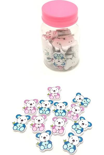 Comex Panda Şeklinde Mavi - Pembe Ahşap Dekoratif Düğme 50'li