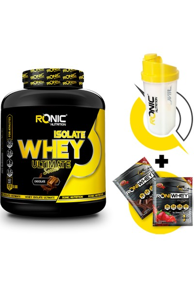 Ronic Nutrition Ultimate Isolate Whey Protein Tozu 2270 gr + Shaker ve 2 Adet Tek Kullanımlık Whey Protein