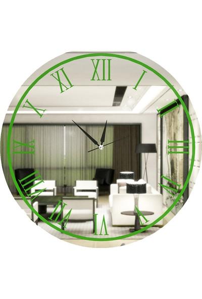 Camex Sarı Yeşili Roma Rakamlı Aynalı Duvar Saati