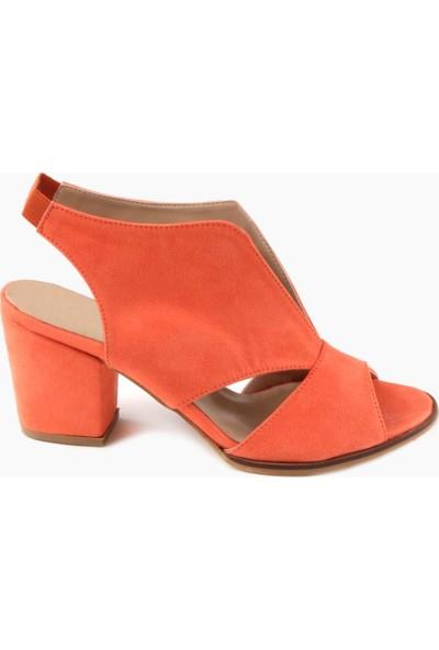 Nicoletta Süet Orange Bilekten Bağlamalı Kalın Topuklu Kadın Sandalet