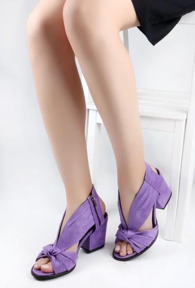 Nicoletta Süet Mor Bilekten Bağlamalı Kalın Topuklu Kadın Sandalet